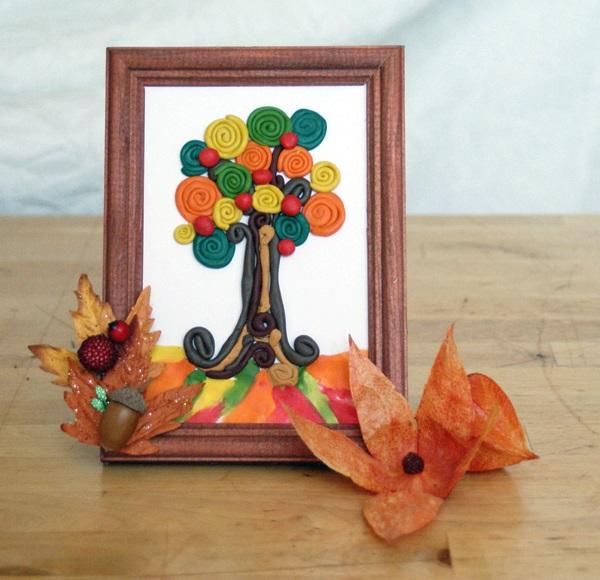 Осенний пейзаж поделки - сборка фото (20)