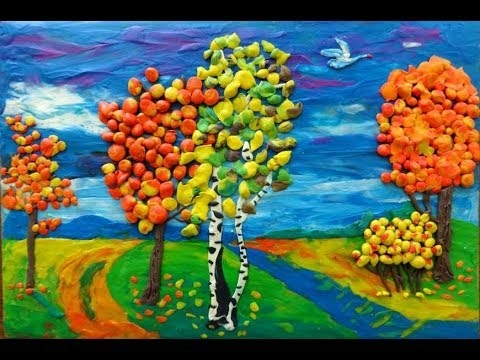 Осенний пейзаж поделки - сборка фото (6)