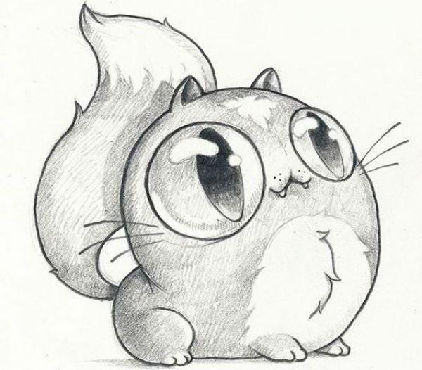 Рисунки карандашом милые животные - подборка (2)