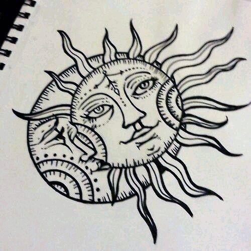 Солнце и луна рисунок (1)