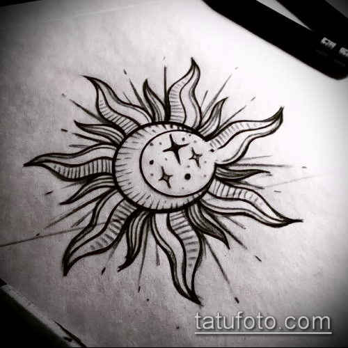 Солнце и луна рисунок (12)