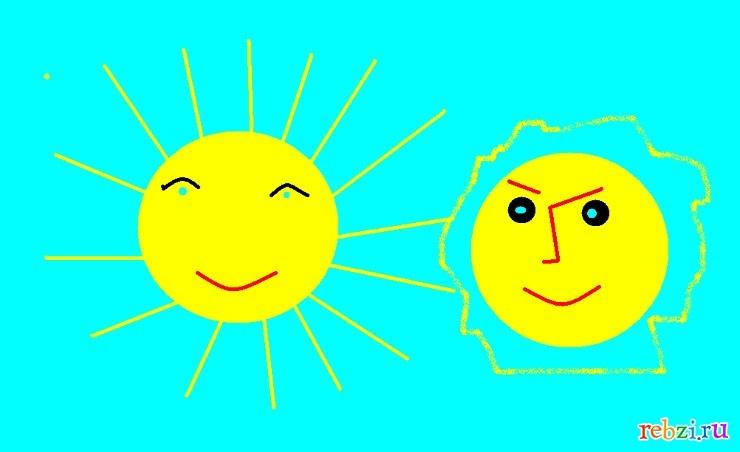 Солнце и луна рисунок (14)