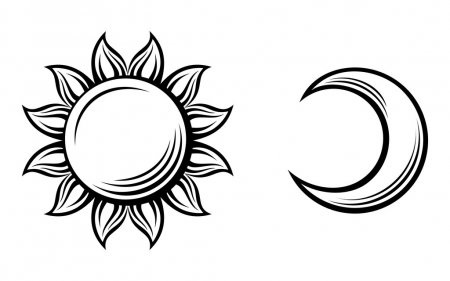 Солнце и луна рисунок (15)
