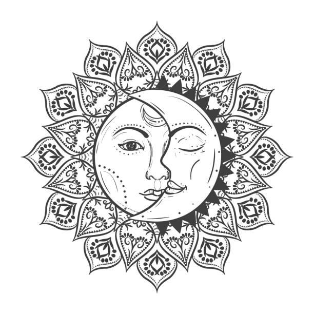 Солнце и луна рисунок (21)
