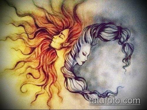 Солнце и луна рисунок (24)