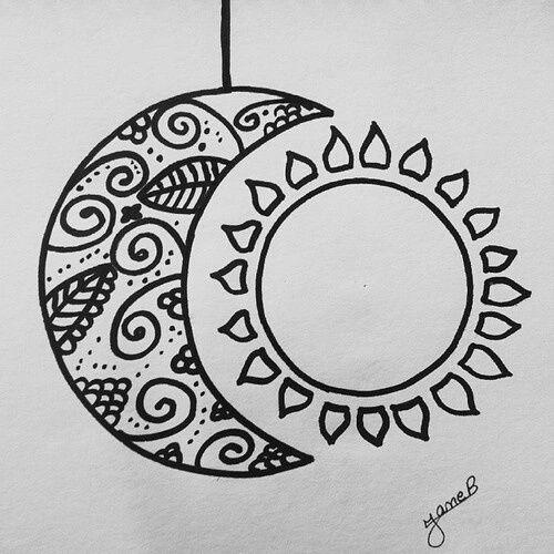Солнце и луна рисунок (25)