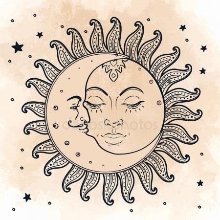 Солнце и луна рисунок (3)