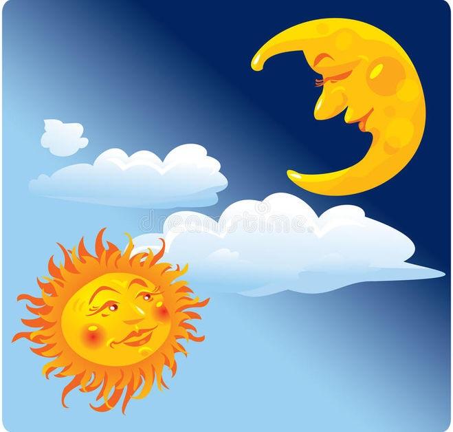 Солнце и луна рисунок (8)