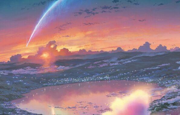 Твое Имя пейзажи из аниме (14)