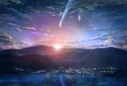 Твое Имя пейзажи из аниме (16)