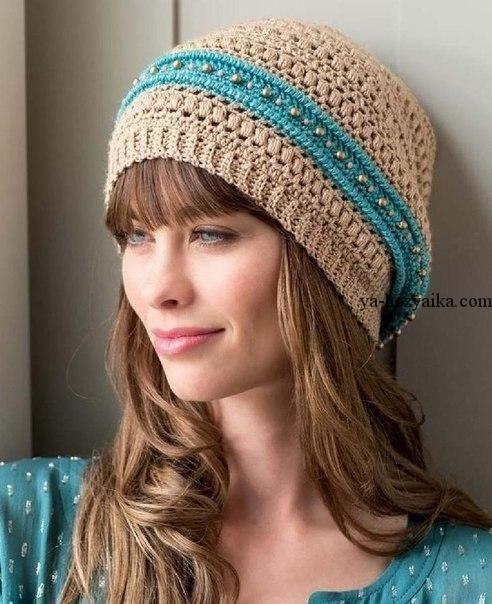 Фото вязаная шапка в стиле бохо (2)