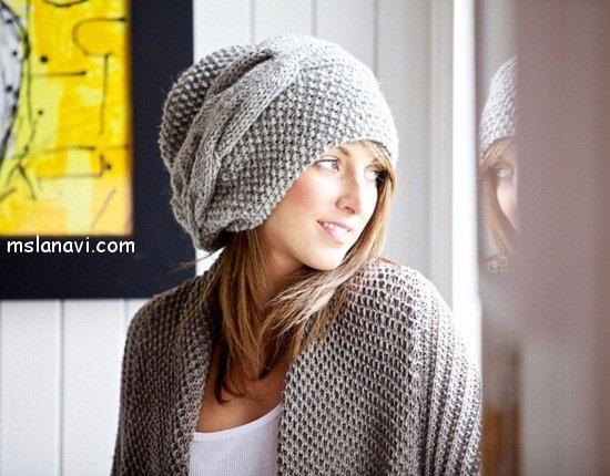 Фото вязаная шапка в стиле бохо (4)