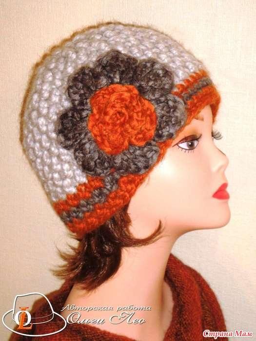 Фото вязаная шапка в стиле бохо (7)