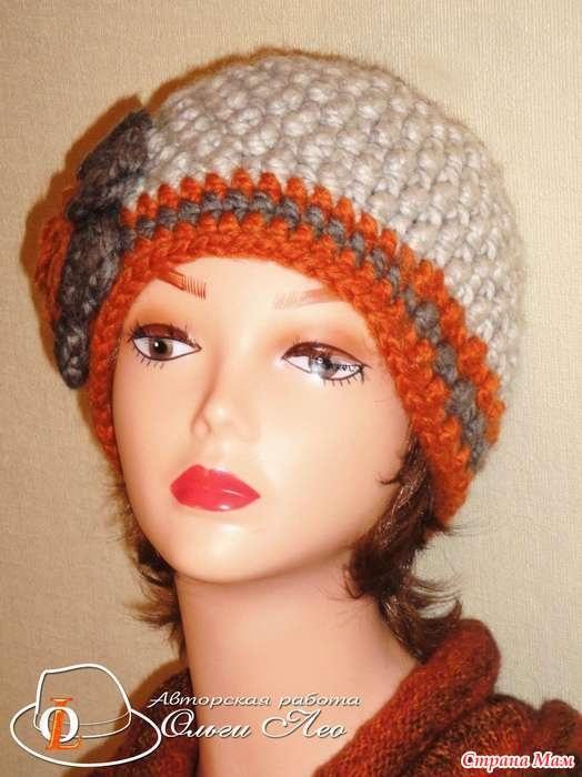 Фото вязаная шапка в стиле бохо (9)