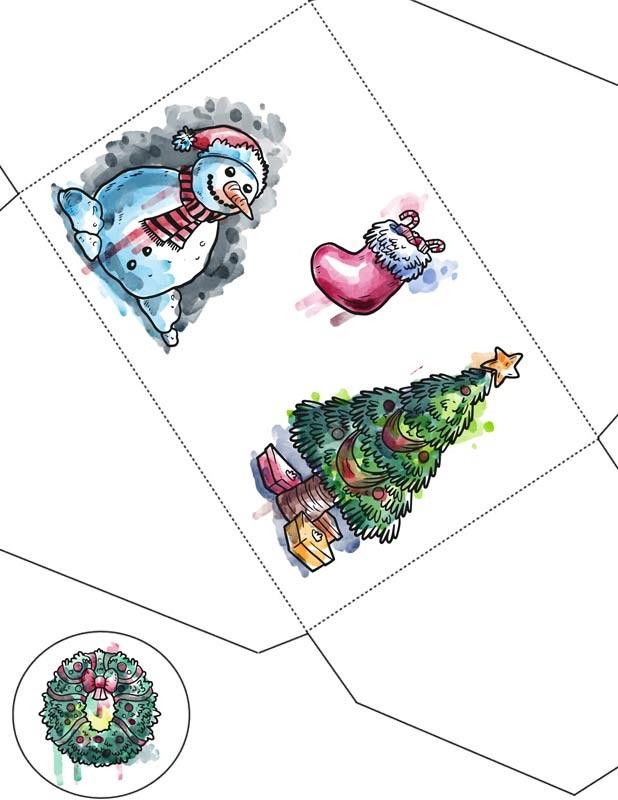 Картинки новогодний конверт шаблон (4)
