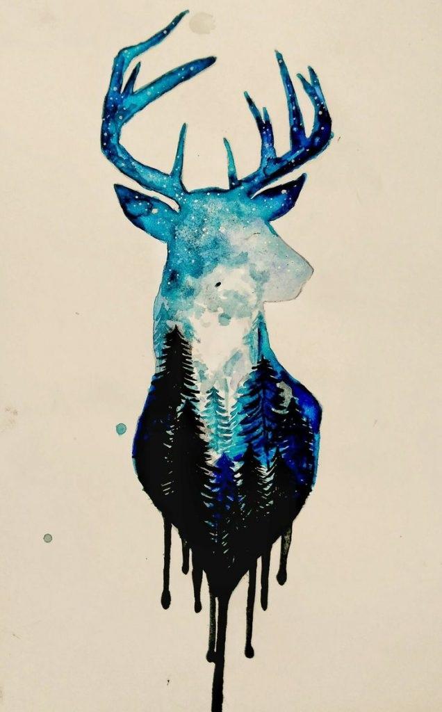 Красивые рисунки для срисовки олень (21)