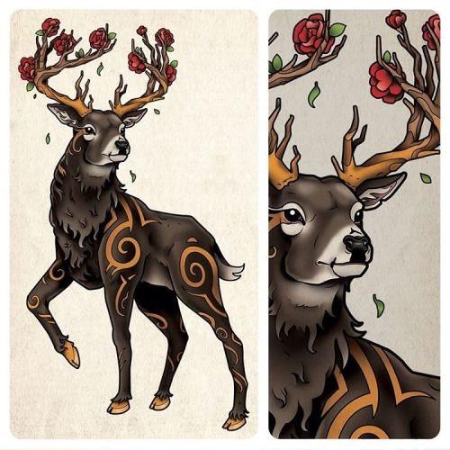 Красивые рисунки для срисовки олень (24)