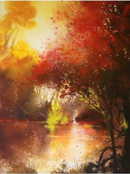 Осень акварельные рисунки (10)