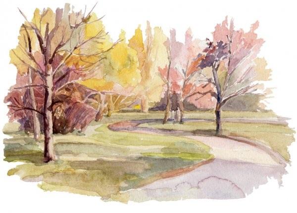Осень акварельные рисунки (12)