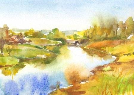 Осень акварельные рисунки (13)