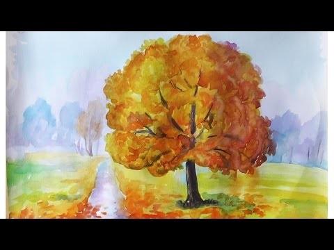 Осень акварельные рисунки (15)