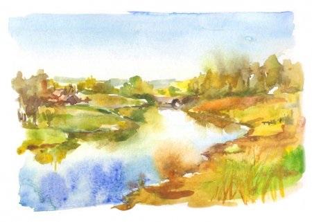Осень акварельные рисунки (16)