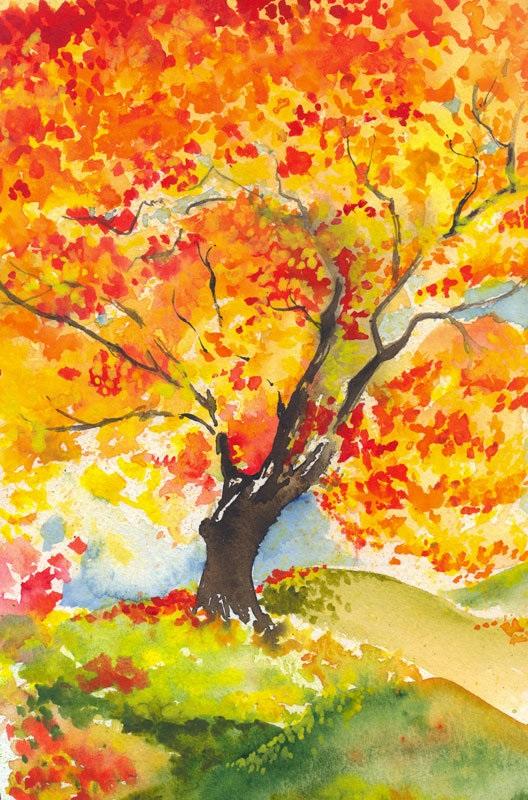 Осень акварельные рисунки (17)