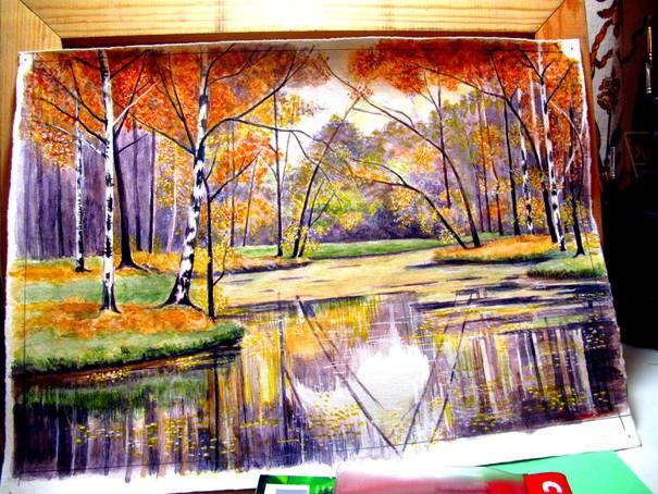 Осень акварельные рисунки (24)