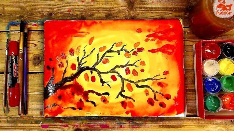 Осень акварельные рисунки (25)
