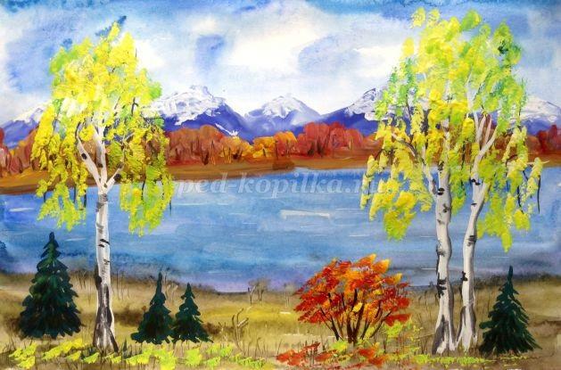 Осень акварельные рисунки (6)