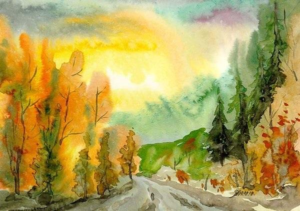 Осень акварельные рисунки (8)