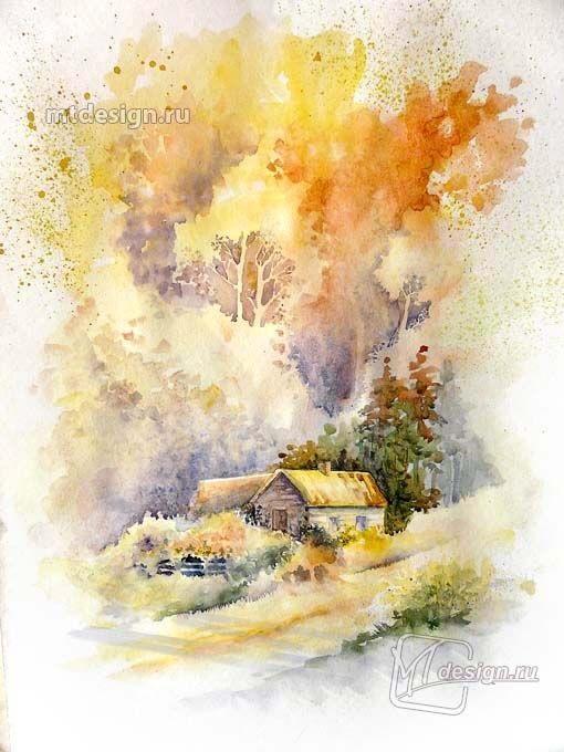 Осень акварельные рисунки (9)