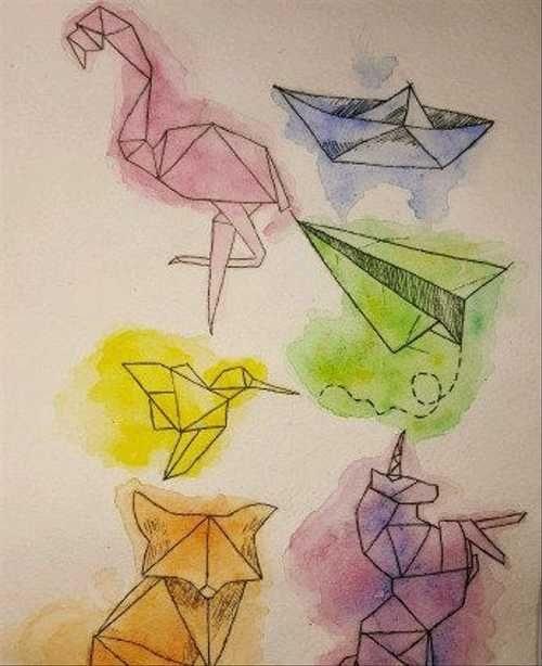 Рисунок в стиле оригами (4)