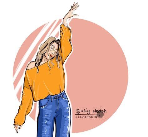 Рисунок девочка в свитере (3)