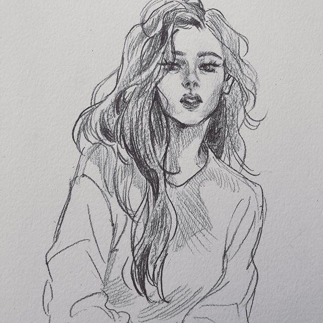 Рисунок девочка в свитере (4)