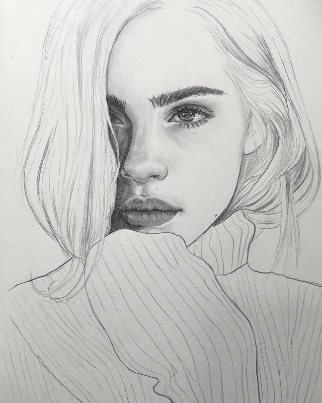 Рисунок девочка в свитере (6)