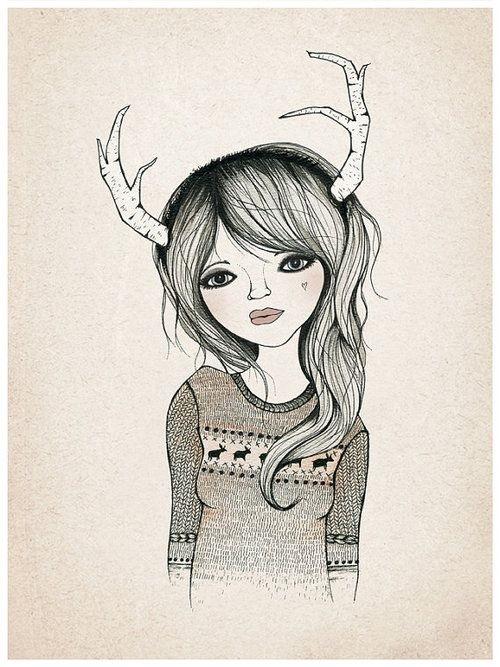 Рисунок девочка в свитере (7)