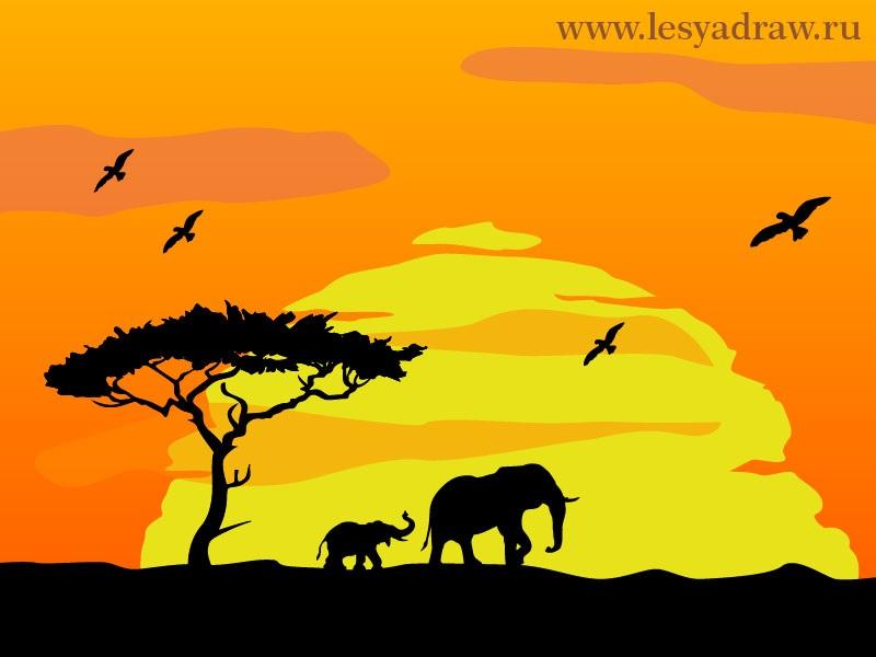 Рисунок для детей африка (10)