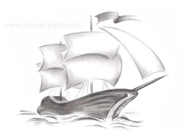 Рисунок море и парусник (12)