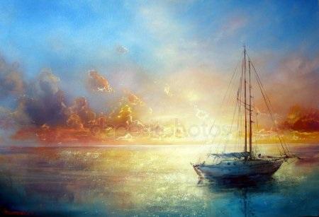 Рисунок море и парусник (13)