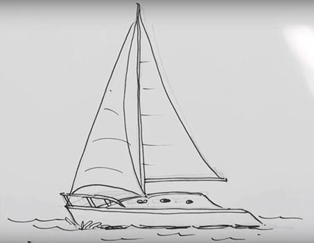 Рисунок море и парусник (14)