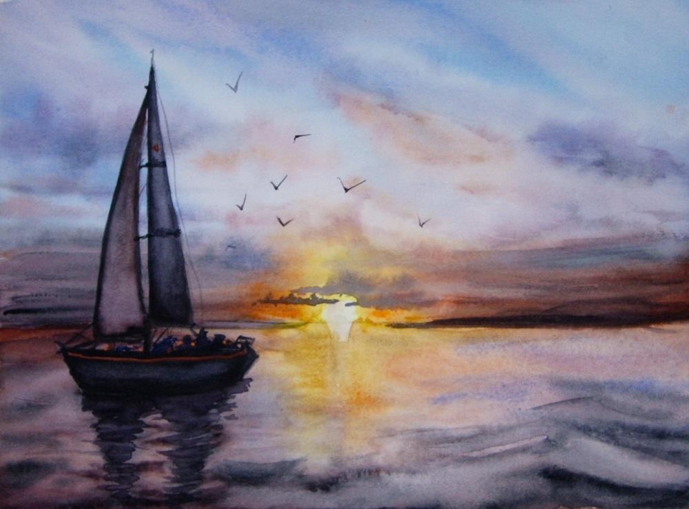 Рисунок море и парусник (15)