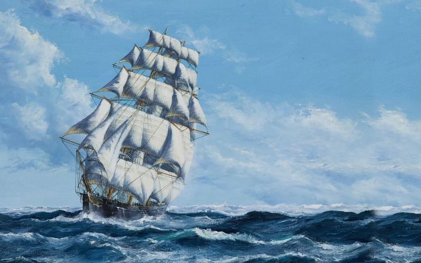 Рисунок море и парусник (16)