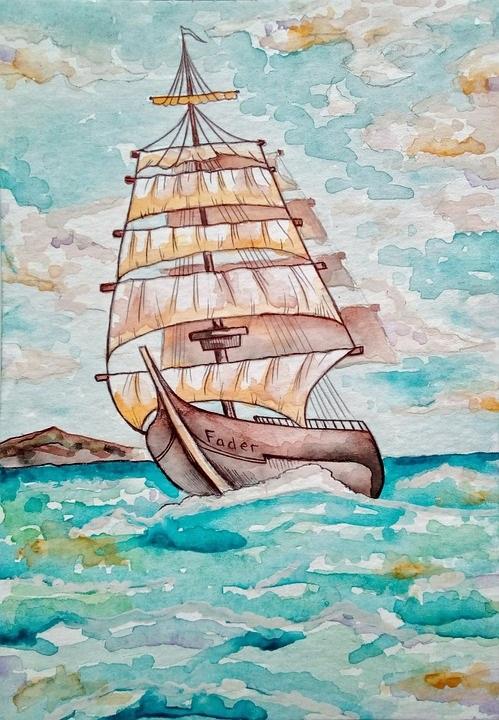 Рисунок море и парусник (17)
