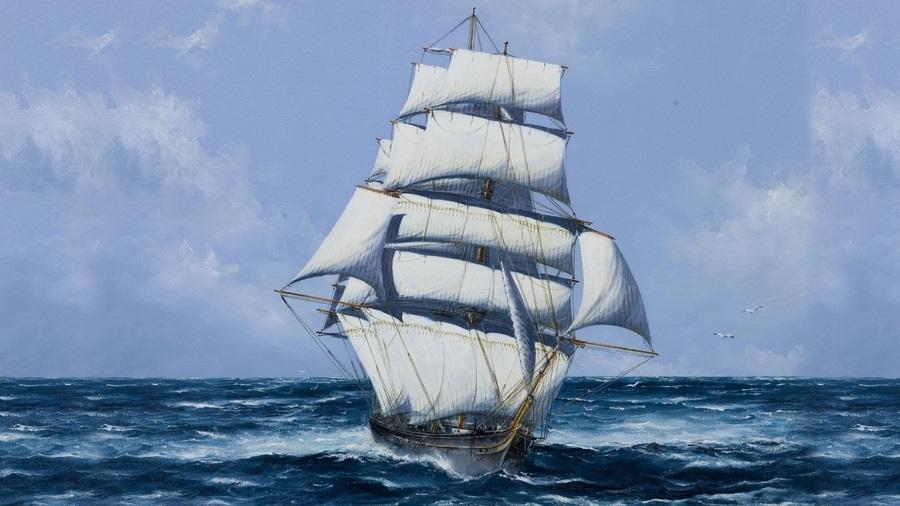 Рисунок море и парусник (18)