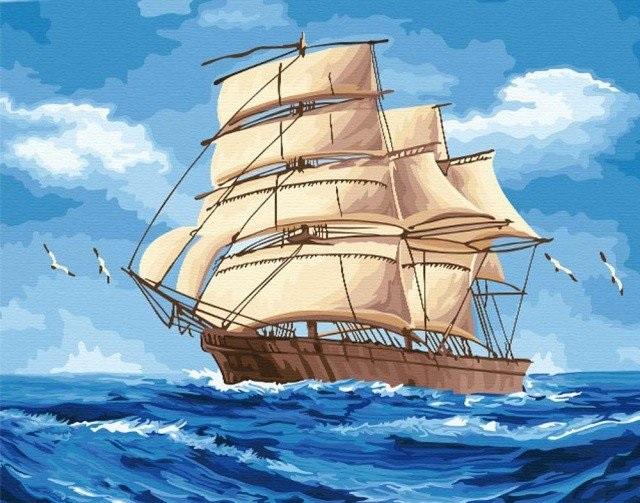 Рисунок море и парусник (20)