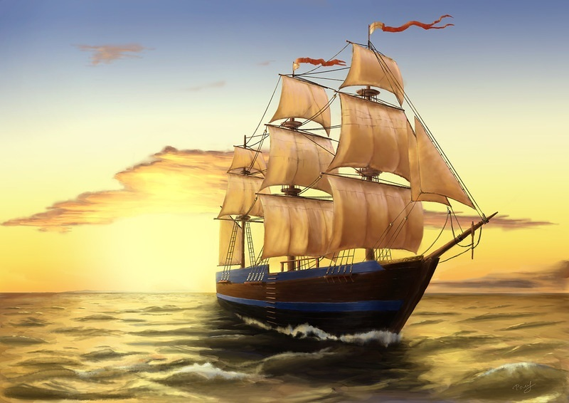 Рисунок море и парусник (21)