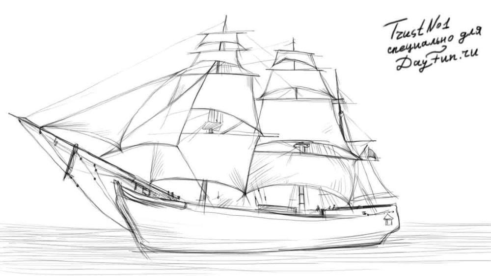 Рисунок море и парусник (23)