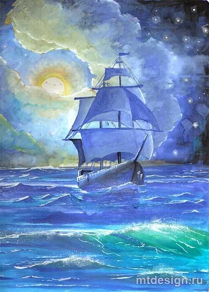 Рисунок море и парусник (4)