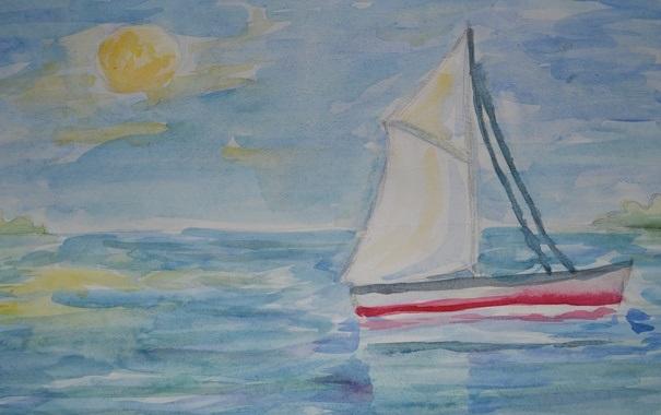 Рисунок море и парусник (7)